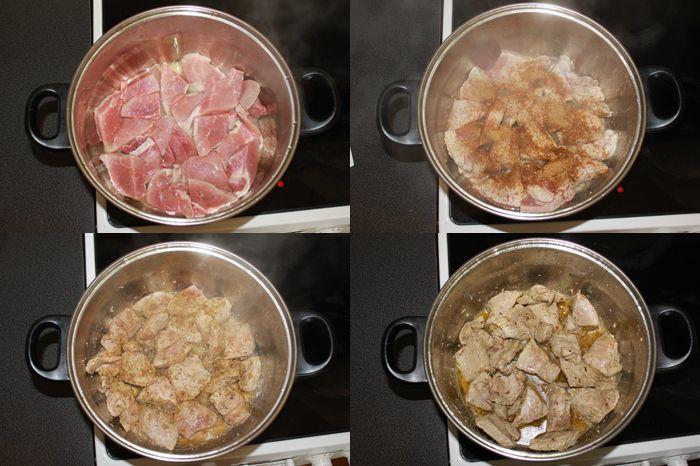 Smažte maso a přidejte koření se solí