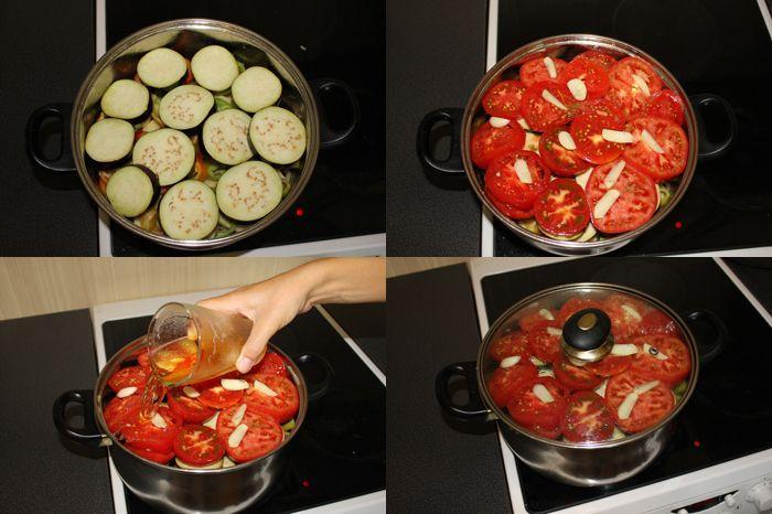 Položíme lilek, rajčata, nalijeme pivo a položíme na nízký oheň
