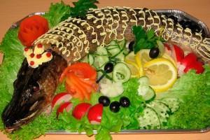 Smažená štika se zeleninou