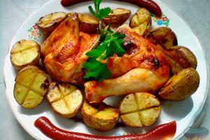 Kuře s pečenými bramborami a rajčatovou omáčkou na talíři