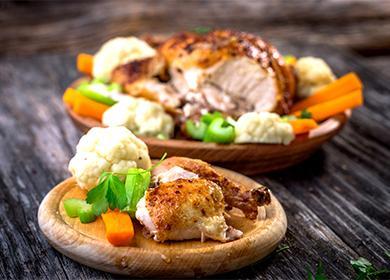 Запечено пиле със зеленчуци