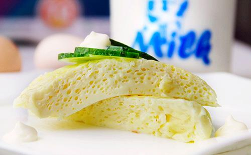 Parní omeleta recept  jak vařit smažená vejce ve vodní lázni, foto