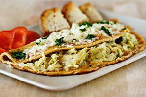 Omeleta s tvarohem a zelím