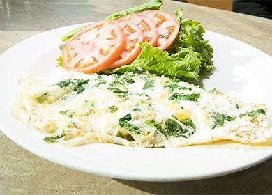 Omeleta s kefírem a rajčaty