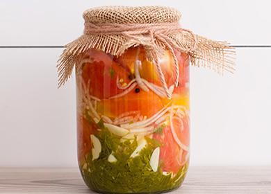 Буркана с консервирани домати и билки