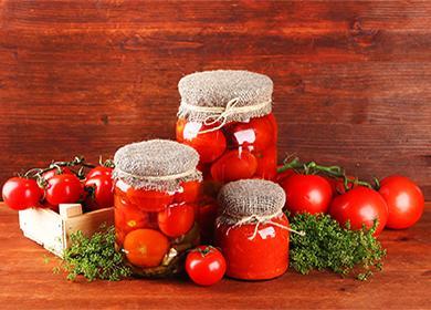 Мариновани домати в буркани с билки