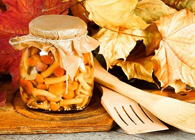 Мариновани гъби с мед в буркан