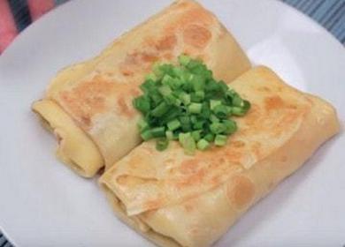 Vaření palačinek se šunkou a sýrem podle receptu krok za krokem s fotografií.