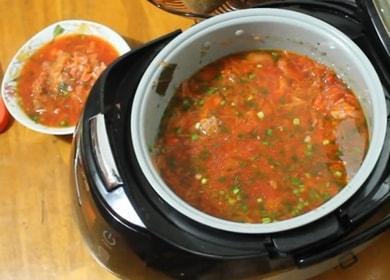 Vaření lahodný boršč v pomalém sporáku podle receptury s fotografiemi krok za krokem.
