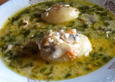 Krok za krokem recept sýrová polévka s houbami s fotografií