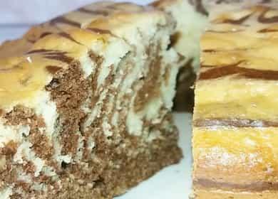 Dort (koláč) Zebra na kefíru podle postupného receptu s fotografií