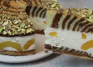 Cake Zebra: jednoduchý recept s fotografií krok za krokem