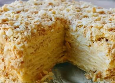 Krok za krokem recept Napoleon dort s krémem s fotografií
