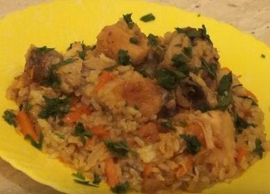 Готвене на вкусен пилаф във фурната с пилешко месо според рецептата със снимка.