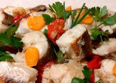 Много вкусна и нежна риба със зеленчуци на фурна: рецепта със стъпка по стъпка снимки и видеоклипове.