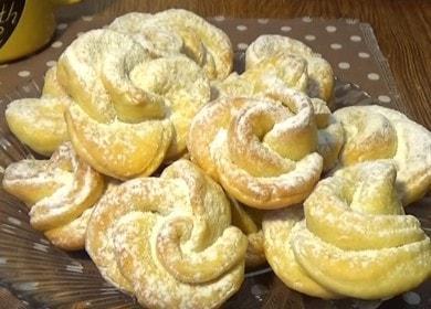 Готвене на нежни и красиви извара бисквитки във фурната според рецептата със снимка.