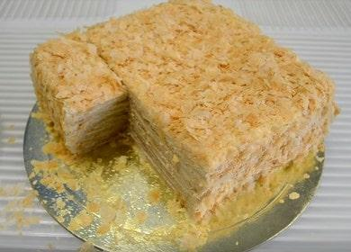 Vaření lahodný Napoleon dort z hotového listového těsta recept s fotografiemi krok za krokem.