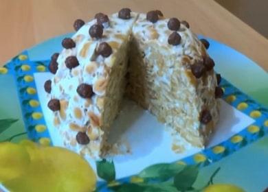 Připravujeme lahodný dort bez pečení z cookies a zakysanou smetanou podle receptu s fotografií.