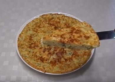 Vaření chutné líné khachapuri na pánvi podle krok-za-krokem recept s fotografií.