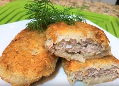 Готвене на вкусни картофени палачинки с кайма според рецептата със снимка.
