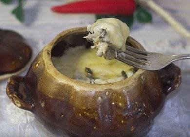 Приготвяме вкусен жулиен в саксии по стъпка по стъпка рецепта със снимка.