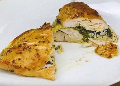 Chutný kuře se špenátem: vařte podle receptu krok za krokem s fotografií.