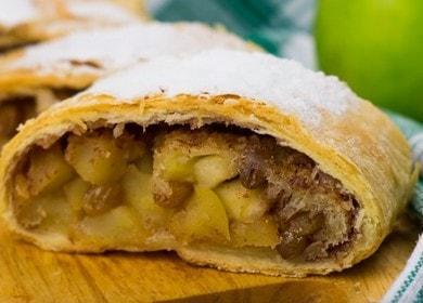 Keitämme hämmästyttävän herkullisen strudelin leivonnaisten omenoilla askel askeleelta kuvan sisältävän reseptin mukaisesti.