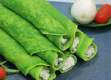 Zelené palačinky se špenátem krok za krokem recept s fotografií