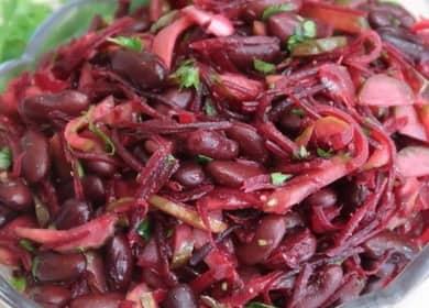 Salát s konzervovanými červenými fazolemi: krok za krokem recept s fotografiemi