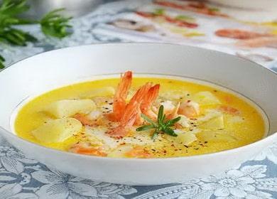 Krevety sýrová polévka podle krok za krokem recept s fotografií