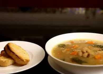 Krok za krokem recept bílá fazolová polévka s fotografií