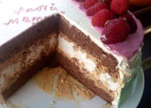 vaření dort s pusinky a sušenky